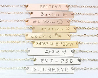 Personalized Bar Necklace Gold Engraved necklace Name Nameplate Necklace Roman numerals Wedding date necklace Coordinates necklace Kids name