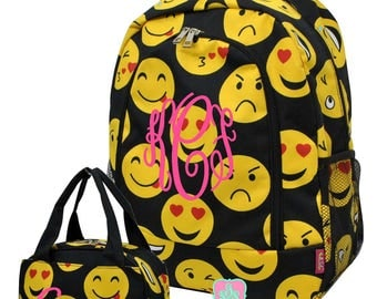 Kid Personalized Backpack and Lunch bag Monogrammed Emoji Backpack and Lunchbox Girl Monogrammed Backpack Girl Monogrammed Lunchbox