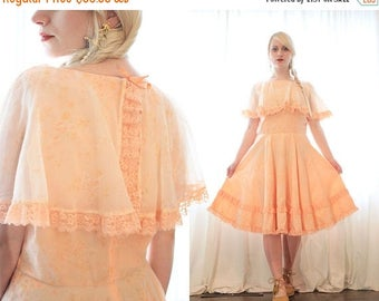 20% OFF SALE Vintage 1960s peach dreams baby pink mini prom dress calico floral print peach lace ruffle trim sleeveless retro party dress 60