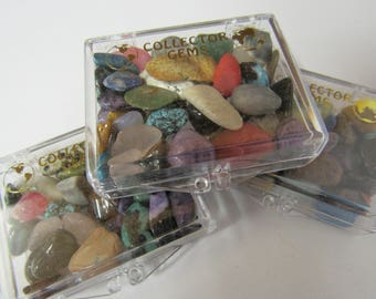 Gemstones, Assorted, Kids, Educational, Learning, Tumbled Polished Stones, Plastic Box, Beginners Set