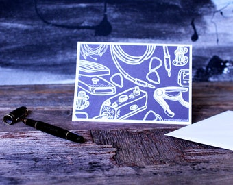 Guitar Gear Card, Card for music lover, guitar player, rock and roll