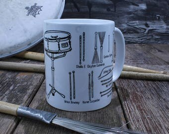 Drummer mug, gift for musicians and music lovers