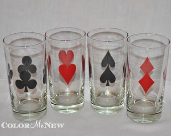 Set of 4 Vintage Tumbler Highball Glasses- Card Suit Glasses -Heart-Spaids-Diamonds-Clubs -Red and Black