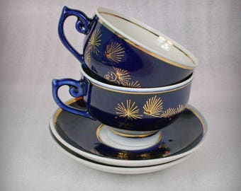 Cobalt Soviet Union porcelain vintage set of 2 teacups and saucers . , 1970s , from Russia / USSR #2