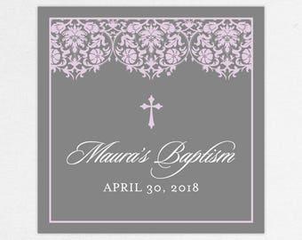 Baptism Favor Tag, Baptism Favor Label, Christening Favor, Christening Favor Label, Print, Floral, Damask, Lace, Girl, Gray, Purple, Maura