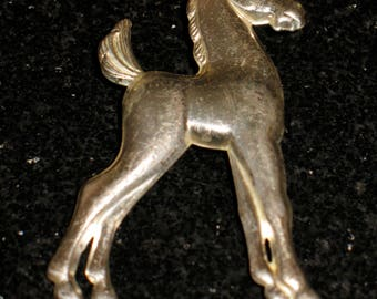 Vintage Tin Horse Figural Brooch Pin