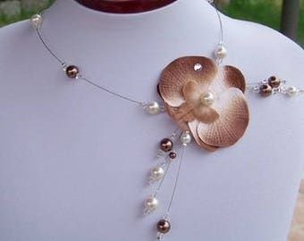 Bridal mariage necklace Orchid ivory and chocolate