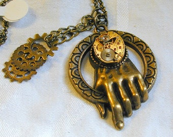 Steampunk Hand of Time Watch Movement Necklace OOAK