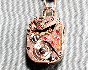 Steampunk Vintage Art Deco Era Waltham Watch Movement Pendant with Chain OOAK #32