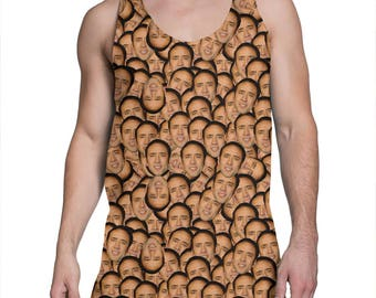 Nicolas Cage everywhere tank top - funny tanktop, meme tank top, holiday vest, unisex t shirt 8M047