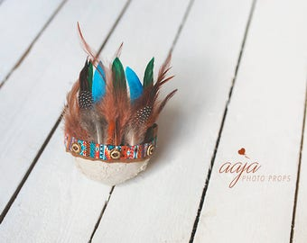 Beautiful baby Indian style tieback with feathers, native, Blue, orange, brown, green, Photo prop, Made to order
