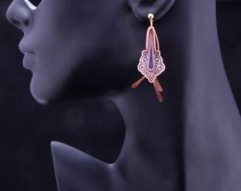 Copper Earrings, Dangle Earrings, Etched Copper, Oxidized Patina, Handmade, Boho, Bohemian Earrings, Gypsy, Hippie, Boho Chic, Contemporary