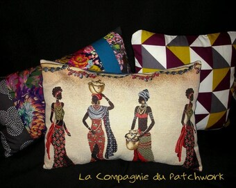 'Little African fantasy' ethnic Cushion cover cushion, upholstery fabric, 51 x 36 cm, removable