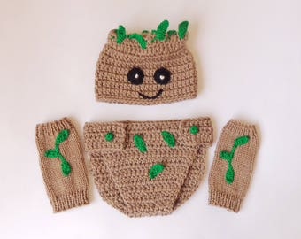 Groot Marvel Costume Hat And Diaper Cover With Leg Warmers, Groot Beanie- From Guardians of the Galaxy - Halloween / Cosplay / Baby Shower