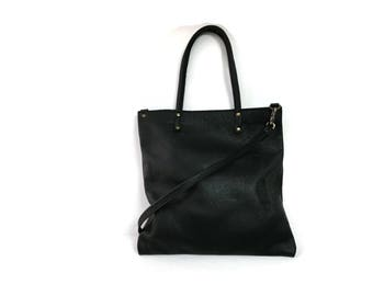 Black leather cross body tote bag // Minimalist bag // Simple tote bag // Slouchy cross body bag