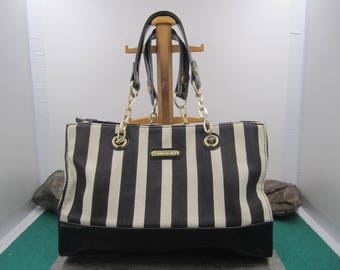 Anne Klein Nautical black/creamy white striped structured bag with black faux patent leather