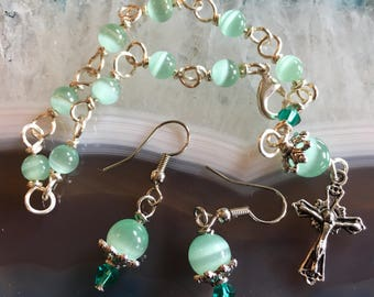 Lovely Wire Wrapped Teal Rosary Bracelet Set. Take Your Rosary Wherever You Go!