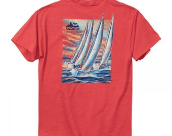 Tide and Timber Sail Boats Tshirt