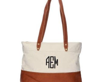 Heartstrings Personalized Leather Tote