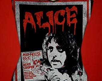 ALICE COOPER diy halter top  girly black metal band reconstructed vintage poster shirt xs s m l xl