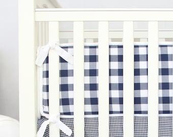 Brett's Navy Gingham Crib Bumpers | Brett's Navy and White Plaid Collection