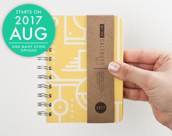 Small planner 2017 2018 with high quality paper! Pocket weekly Diary! Calendar Kalender Day Journal Agenda! Geometric design! August