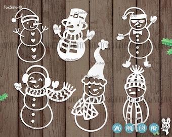 Christmas Snowmen svg, Snowman, svg Bundle    Snow Man 6 svg cut files   Christmas cut file svg   Silhouette   vinyl decal Winter   Cricut