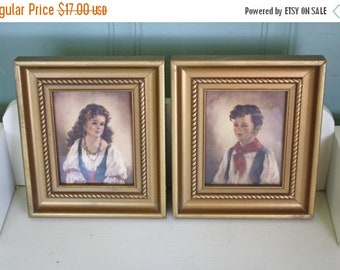50% off Mid Century Art Prints Gypsy Children Bohemian Chiko and Elena By Ann Allaban Framed Print 1960s