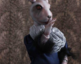 BJD doll- Rabbit- Gothic Horror Doll- Halloween doll-Halloween decorations-cat-dog - bunny doll- art doll- OOAK doll - porcelain doll