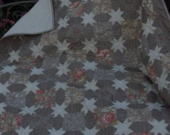 "Generous Lap Sized Quilt in Tan and ??    with Lots and Lots of Little Stars    55"" x 55"""