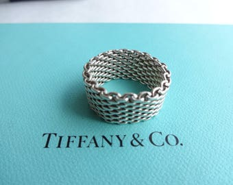 Authentic Tiffany & Co. Somerset Mesh Sterling Silver Band Ring Size 8
