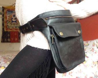 VEGAN Multi-Pocket Black Pleather Hip Bag
