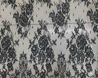"Floral lace ,eyelash Lace Fabric sell by yard ,off  White Chantilly Lace fabric  for wedding 59"" width-7174"
