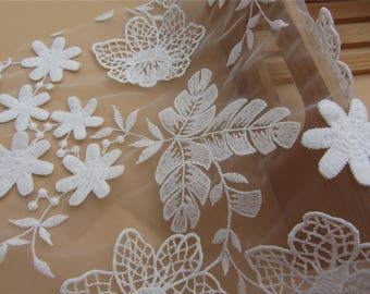 3D Lace fabric in white ,little flower embroidery Lace for Girls, Women, Clothings / DRESS Lace supply ,solubility lace fabric