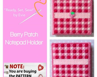 "Plastic Canvas Pattern: ""Berry Patch"" Notepad Holder ***PATTERN ONLY***"