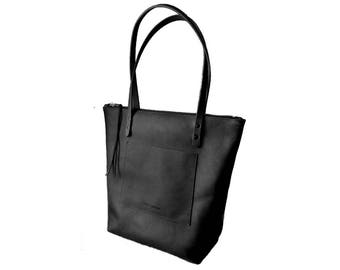 ZIPPERED LARGE TOTE Onyx Black - Leather Everyday Bag