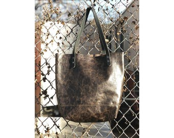 SALE • Limited Edition LARGE TOTE Black Crackle • Leather Everyday Bag