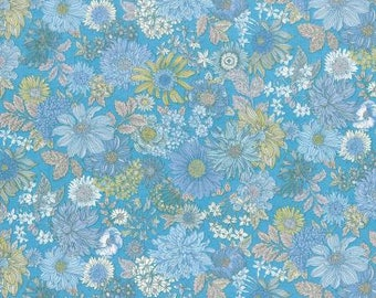 Lecien Memoire A Paris LAWN - Fat Quarter in Blue Floral