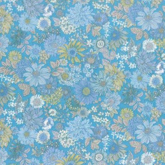Lecien Memoire A Paris LAWN - Fat Quarter in Blue Floral