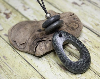 Beach stone necklace, Lake Superior rock necklace, river rock necklace, beach pebble, Zen, cairn necklace, North Shore, Great Lakes