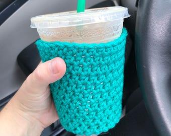 crochet coffee cozy-coffee sleeve-resuable coffee sleeve-iced coffee cozy
