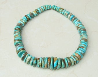 Natural Turquoise Graduated Coins - Genuine Turquoise Beads - Real Turquoise - Turquoise Stones - 10mm to  25mm - 15 inch Strand - 4704