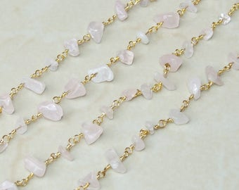 Rose Quartz Rosary Chain - Gold Plated Wire Wrapped Rosary Chain.  2mm x 4mm to 5mm x 13mm - Sold by the Foot