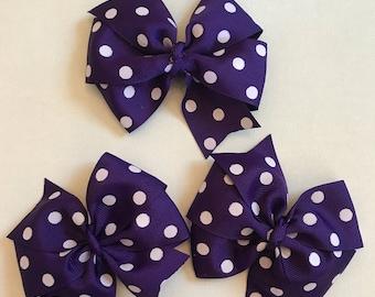 Purple polka dot hair clip, hair ribbons, hair bows, little girl hair bows, Purple polka dot hair bows for school