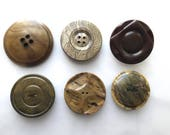 Vintage Brown Buttons Lot/6, Extra Large, Coat, Accent, 2 hole, 4 hole, Shank, Destash