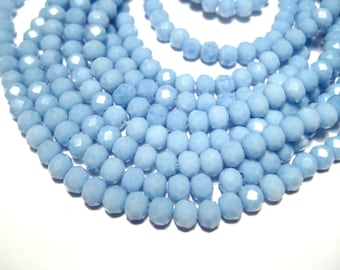 1 Strand Blue Faceted Rondelle Glass Beads 4x3mm ( No.10)