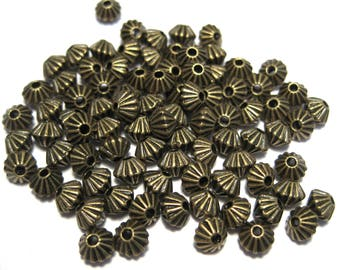 50pcs Antique bronze Bicone Spacer Metal Beads 4mm