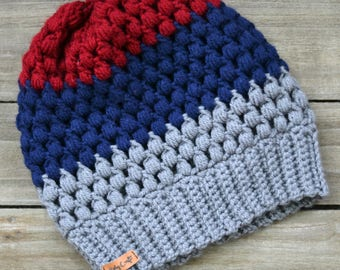 Crocheted, Slouchy, Color-block Beanie