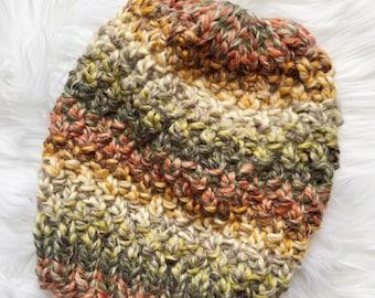 Handmade Knit Hat, Multicolored Knit Hat, Knit Linden Hat, Knit Pom Pom Hat, Ready to Ship