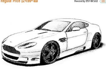 40% OFF Sale Aston Martin Drawing T Shirt